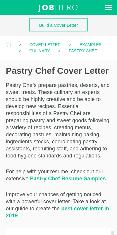 Pastry Chef Cover Letter 20 Guides Examples