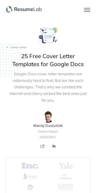 Free Cover Letter Template Google Docs 20 Guides Examples