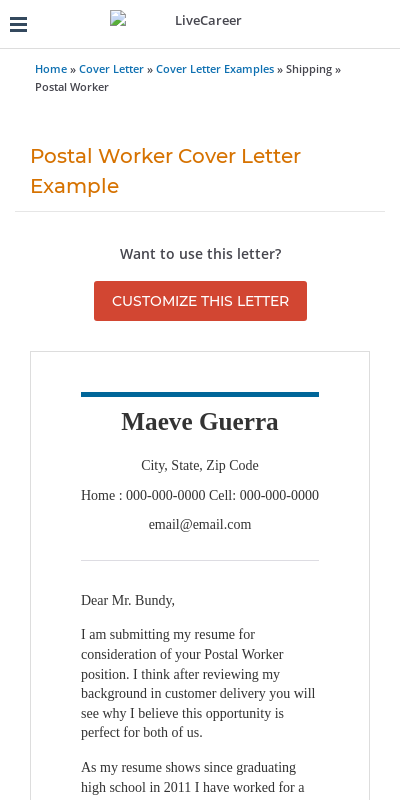 Short Application Cover Letter For The Post Office 20 Guides Examples