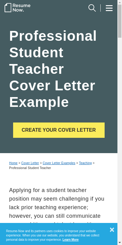 Student Teaching Cover Letter 20 Guides Examples