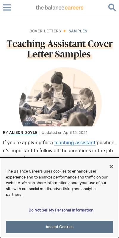 Sample Cover Letter For Teaching Assistant With No Experience 20 Guides Examples