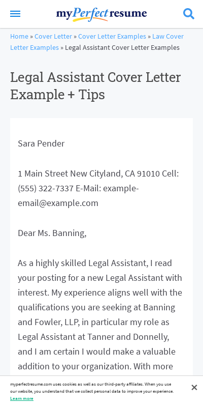 Legal Assistant Cover Letter 20 Guides Examples