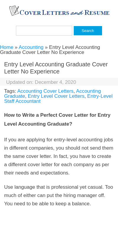 Cover Letter For Accounting Students With No Experience 20 Guides Examples
