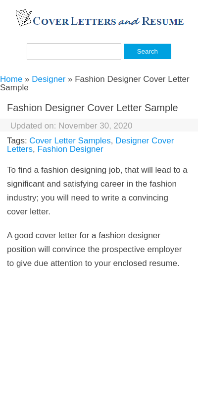 Fashion Designer Cover Letter 20 Guides Examples