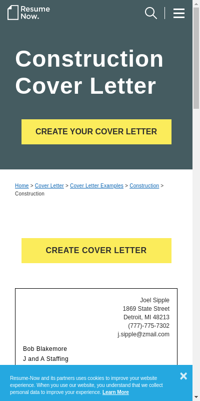 Construction Resume Cover Letter 20 Guides Examples