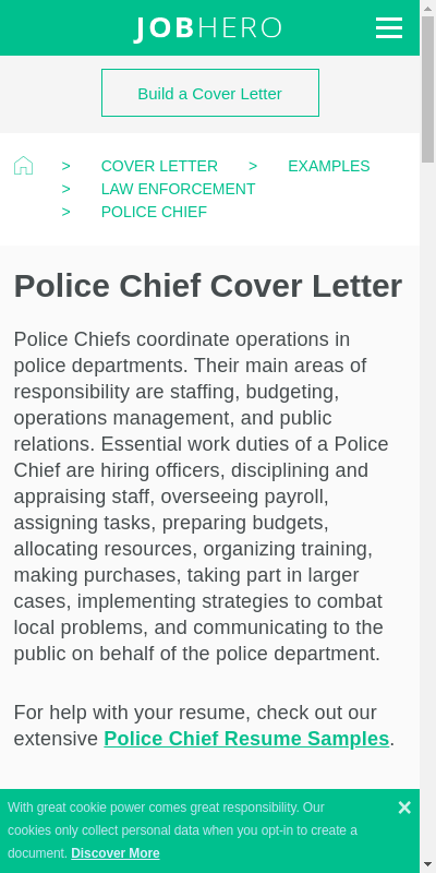 Police Chief Cover Letter 20 Guides Examples