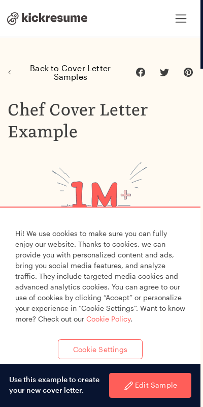 Chef Cover Letters For Resumes 20 Guides Examples