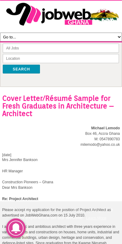 Cover Letter For Architecture Fresh Graduate 20 Guides Examples