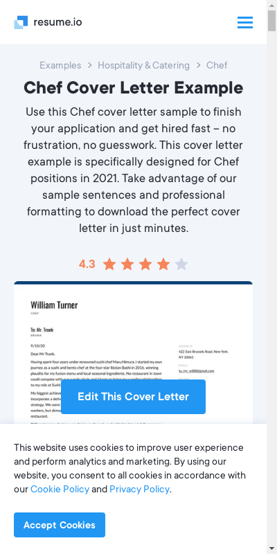Chef Cover Letter Samples 20 Guides Examples