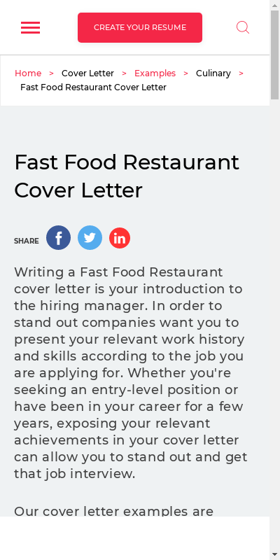Cover Letter For Fast Food 20 Guides Examples