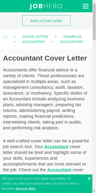 Sample Cover Letter For Accounting 20 Guides Examples