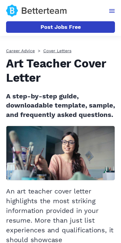 Art Teacher Cover Letter With No Experience 20 Guides Examples