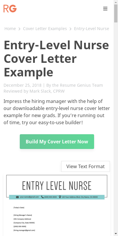 Entry Level Nursing Cover Letter 20 Guides Examples