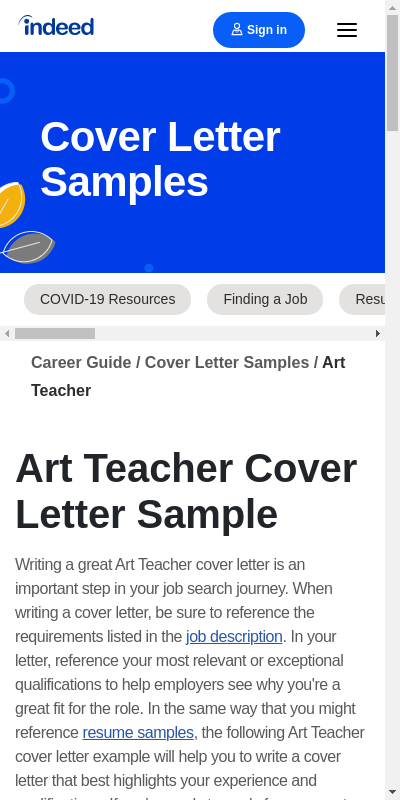Art Teacher Cover Letter Examples 20 Guides Examples