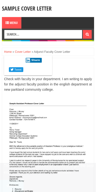 Sample Cover Letter For Adjunct Professor With No Experience 20 Guides Examples