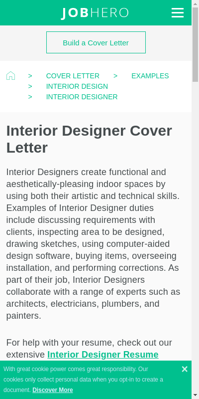 Interior Designer Cover Letter 20 Guides Examples