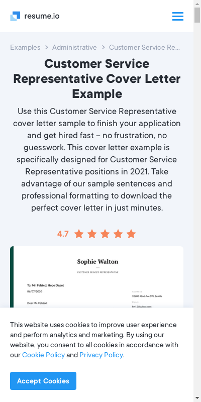 Find Cool Cover Letter Example Customer Service Representative  Collections