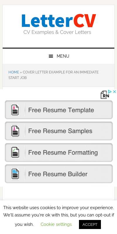 I Am Available To Start Work Immediately Cover Letter 20 Guides Examples