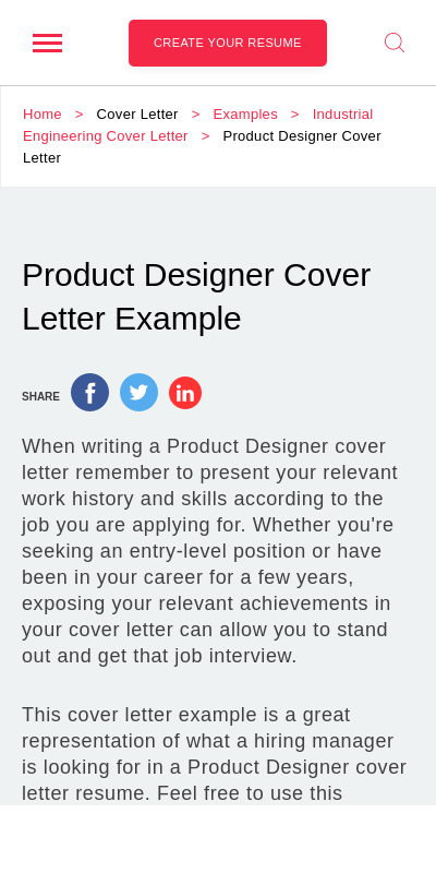 Product Design Cover Letter 20 Guides Examples