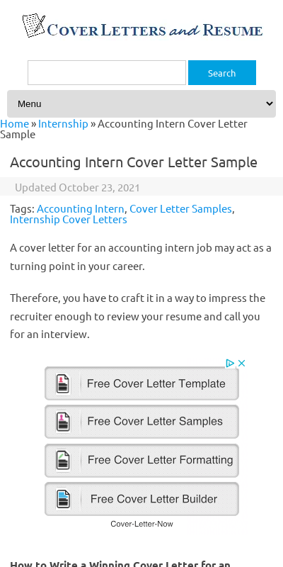 Sample Cover Letter For Accounting Internship 20 Guides Examples