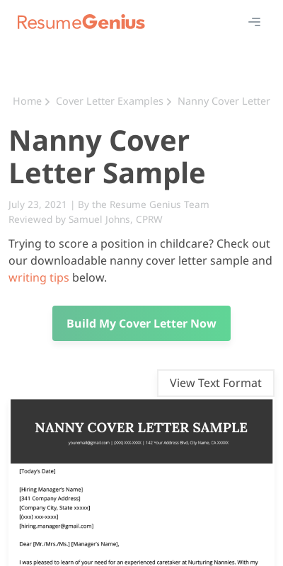 Cover Letter Nanny 20 Guides Examples