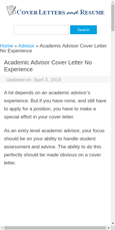 Academic Advisor Cover Letter No Experience 20 Guides Examples