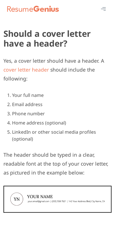 Should Cover Letter And Resume Have Same Header 20 Guides Examples