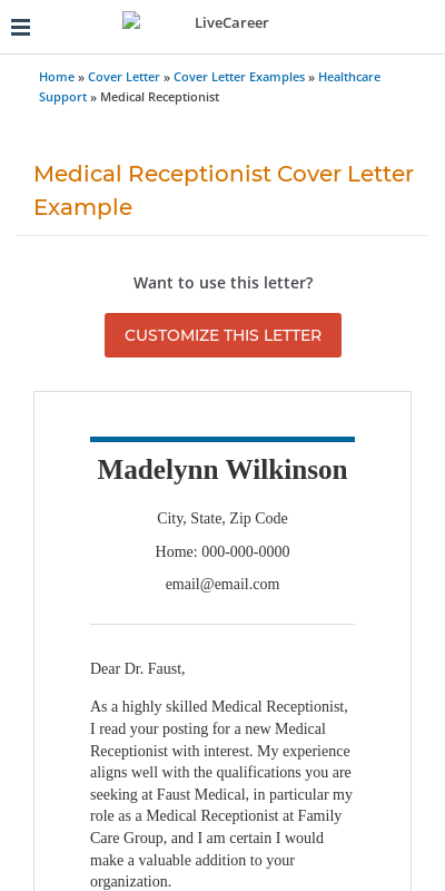 Cover Letter For Medical Receptionist Position 20 Guides Examples