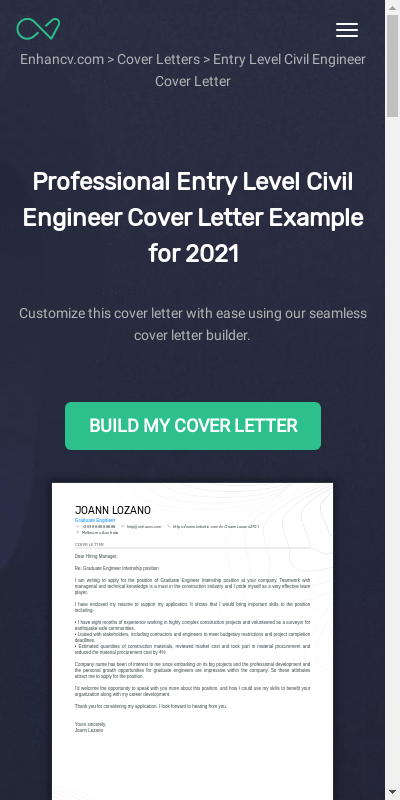 Entry Level Civil Engineering Cover Letter 20 Guides Examples