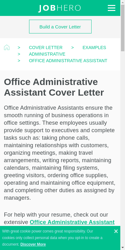 Short Cover Letter For Administrative Assistant 20 Guides Examples