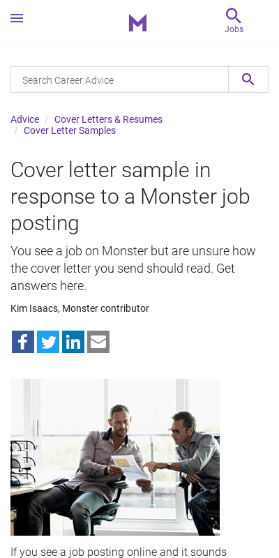 Sample Cover Letter Responding To Job Posting 20 Guides Examples