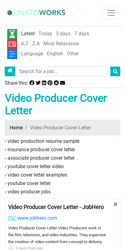 Video Producer Cover Letter 20 Guides Examples