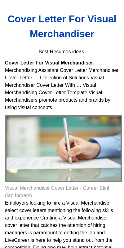 Visual Merchandising Cover Letter 20 Guides Examples