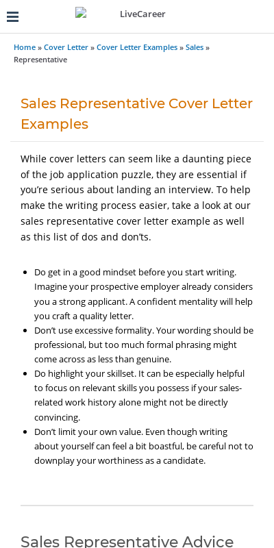 Sales Rep Cover Letter Examples 20 Guides Examples
