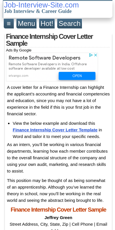 Cover Letter For Finance Internship 20 Guides Examples