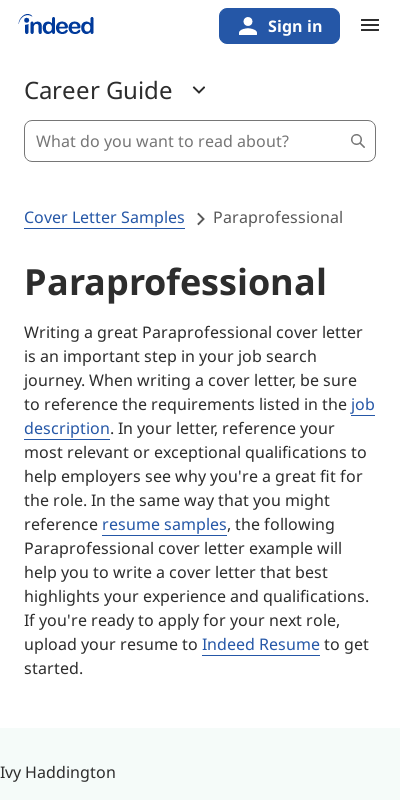 Cover Letter Paraprofessional 20 Guides Examples