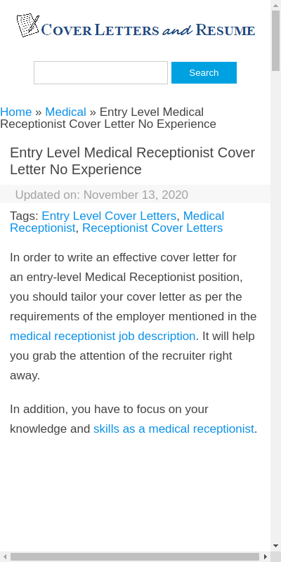 Medical Receptionist Cover Letter No Experience 20 Guides Examples