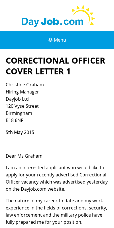 Correctional Officer Cover Letter With