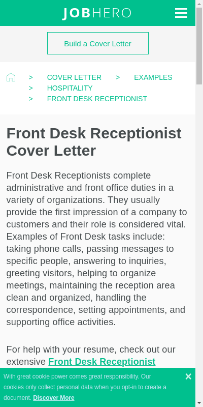 Receptionist Cover Letter Indeed Large Taken Most Popular