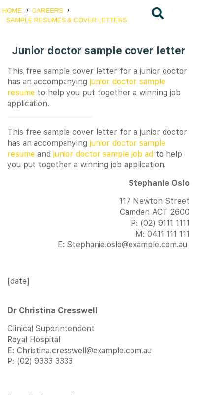 Doctor Cover Letter For Job Application Primary Display Top Rated