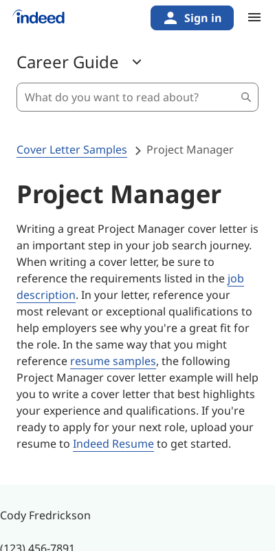 Sample Cover Letter For Project Manager 20 Guides Examples