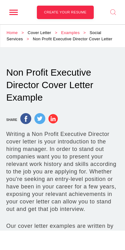 Sample Cover Letter For Executive Director Position For Non Profit 20 Guides Examples