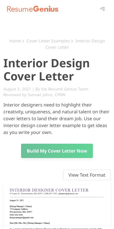 Interior Design Covering Letter 20 Guides Examples