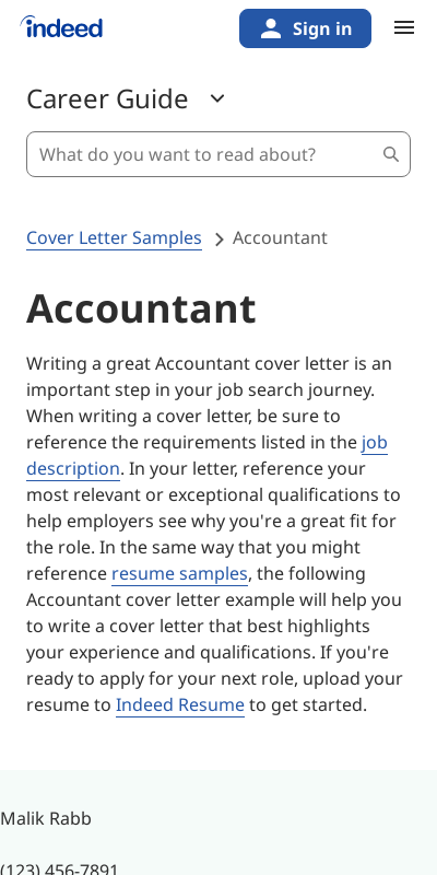 Sample Cover Letters For Accounting 20 Guides Examples