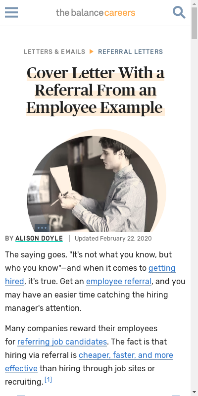 Employee Referral Cover Letter 20 Guides Examples