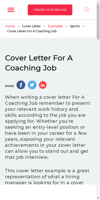 Sample Cover Letter For Coaching Job 20 Guides Examples