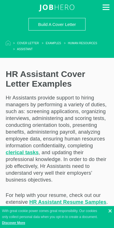 Sample Cover Letter For Human Resources Assistant 20 Guides Examples