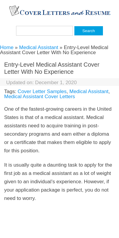 Sample Cover Letter For Medical Assistant With No Experience 20 Guides Examples