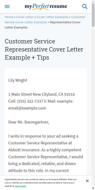 Customer Service Representative Cover Letter Example 20 Guides Examples