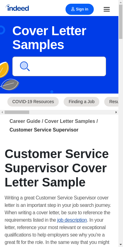Customer Service Supervisor Cover Letter 20 Guides Examples